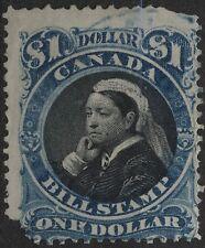 "Canada VanDam # FB52 - $1.00 blue & black bill stamp of 1868 - funny ""N"""