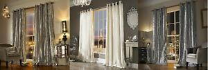 Ashley Wilde Iliana Chenille Velvet Eyelet Fully Lined Curtains With Stipes