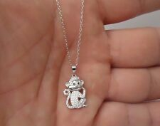 925 STERLING SILVER MONKEY PENDANT NECKLACE W/.75 CT DIAMONDS/ SIZE 19MM BY 12MM