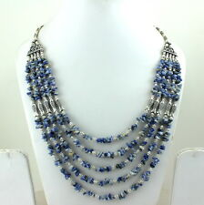 NATURAL REAL BLUE SODALITE CHIPS GEMSTONE BEADED BEAUTIFUL NECKLACE 78 GRAMS