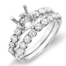 1.00 Carat 14k White Gold Diamond Ladies Bridal Semi Mount Ring Set Wedding Band