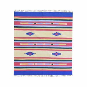 6'x6' Durie Flat Weave Southwestern Design Kilim Hand Woven Square Rug R59874