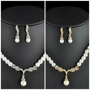 Gold Silber COLLIER Brautschmuck Schmuckset Kette Hochzeit Perlen Armband Braut