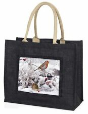 More details for snow mouse and robin print large black shopping bag christmas present , amo-5blb