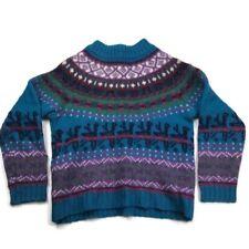 Woolrich Ski Sweater Womens L 100% Wool Ugly Christmas Reindeer