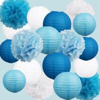 Birthday Wedding Paper Lanterns Tissue Paper Pom Poms Baby Shower Party Decor