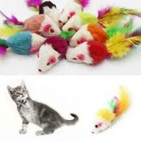 Cat Toy Mouse Feather Tail Rattle Furry Plush Fur Kitten Pet Chasin