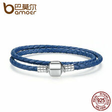 Bamoer European Genuine Blue Wire Leather Bracelet with Sterling Silver Clasp
