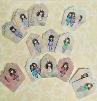 Craft clearout mix, card toppers / Santoro's Gorjuss scrapbooking gift tags