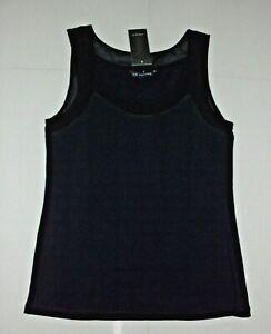 Liz Jordan: Size: S. (10). BLACK/Black Sheer Neckline, Stylish Sleeveless Top