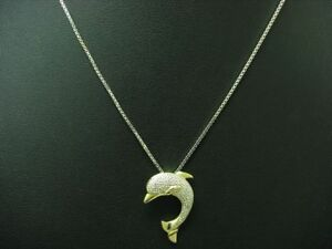 14kt 585 Bicolour Chain & Dolphin Pendant With Brilliant Trim/Diamond/ 36cm