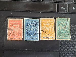 Ecuador 1884-1888 Revenue Stamps 1c, 5c, 10c, 1s - fine used.