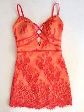 NWT bebe coral lace all over low back cross front straps dress top S Small 4