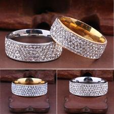 Women Men Stainless Steel Ring Full Filled Zircon Wedding Band Rings Fashion