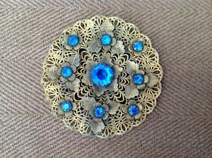 Vintage Filigree With Blue Stones Clip Style Brooch
