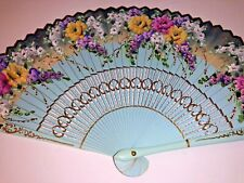 Vintage Hand Held Folding Fan With Beautiful Hand Painted Wood & Fabric Detail