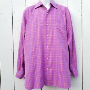 16.5-34 Large Vintage PAUL STUART Pinpoint Oxford Cloth Cotton Pink Button Down Shirt Ivy League Trad