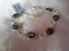 Baltic Green Amber bracelet, 10mm x 8mm, in 8.7 grams, of 925 Sterling Silver