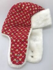 Paul Frank Winter Hat with white faux fur and red top with monkeys