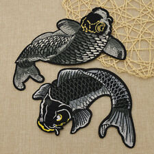 2 Pcs Koi Fish Japanese Sew Iron On Patches Embroidered DIY Applique Black Carp