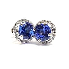 Tanzanite & Diamond Halo Set Earrings,18k White Gold UK Hallmarked