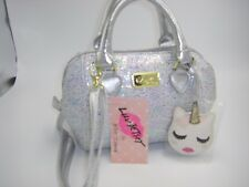 NWT LUV BETSEY JOHNSON LB CORA Metallic Silver Mini Satchel Crossbody Bag Charm