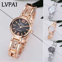 Womens Fashion Watches Waterproof Crystal Analog Quartz Steel Gold Wrist Watch