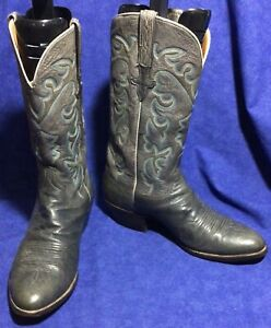 Dk Gray Ostrich Leather LUCCHESE Cowboy Boots Sz 10.5 D VGC