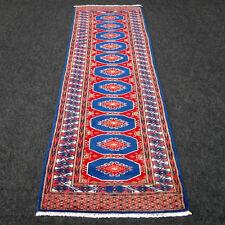 TAPPETO Orientale Buchara 195 x 65 cm alfiere BLU BLUE Bukhara Bokhara Runner Rug