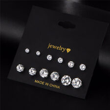 6 Pairs Jewelery Silver Rhinestone Crystal Ear Stud Earrings For Women Fashion
