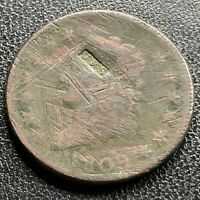 """1809 Large Cent Classic Head One Cent 1c Counterstamped """"J&S"""" Rare #21748"""