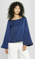 Prologue Women's Long Wide Sleeve Square Neck Blouse Navy Medium