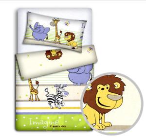 BABY BEDDING SET 120x90 PILLOWCASE DUVET COVER 2PC FIT COT 120x60 SAFARI GREEN
