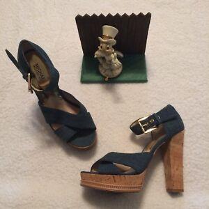 Women's Michael Kors AF11K Sandals Heels Shoe Size 9M Blue Denim Cork Heels NICE