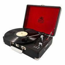 GPO Attache 3 Speed Portable USB Turntable Record Player Vintage Brown