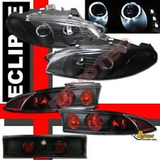 97-99 Mitsubishi Eclipse Dual Halo LED Projector Headlights & Tail Lights Black