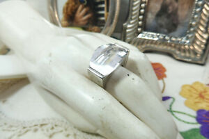 Oroton 925 Sterling Silver Cubic Zirconia Cocktail Ring N/7