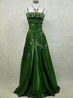Cherlone Green Long Sparkle Satin Ball Prom Gown Wedding/Evening Dress 8-24