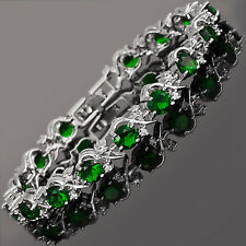 Round Green Emerald White Cubic Zirconia 18K White Gold Plated Tennis Bracelet