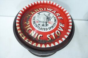 VINTAGE HANDIWARE PICNIC STOVE METHO BURNER  ADVERTISING SIGN LID KETTLE CAMPING