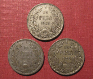 LOT OF (3) CHILE ONE PESO SILVER COINS - VARIOUS GRADES, GREAT CONDITION!