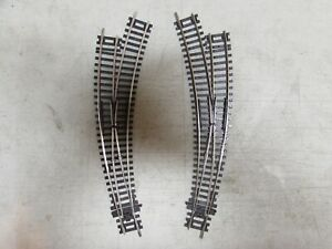 2 PECO NICKLE/SILVER CURVED SWITCH TURNOUTS HO SCALE  (LOT 48)
