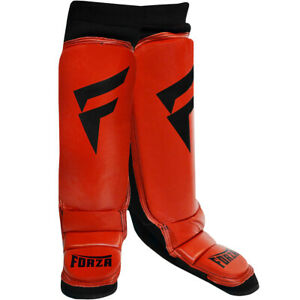 Forza Sports Leather Instep Shin Guards - Red/Black