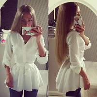 US Fashion Womens Cotton Frill Tops Casual Loose Ladies Blouse Shirt Mini Dress
