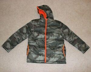 NEW Faded Glory green orange camouflage hooded coat big boys size 14/16 XL
