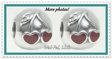 TWO Authentic Solid 925 Sterling Silver PANDORA RED CHERRIES Clip Set 791093EN39