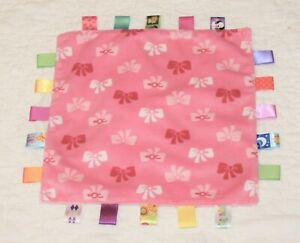 TAGGIES LOVEY SECURITY BLANKET soft plush pink bows satin tags 12x12