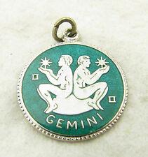 "Vintage JMF Fisher Sterling Silver Enamel ""Gemini"" Zodiac Sign Bracelet Charm"
