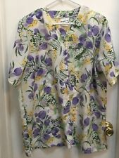 Bon Worth ladies top, size Med, Ivory with floral in Lavender and Yellow, EUC