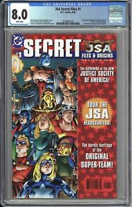 JSA Secret Files #1 CGC 8.0 WP 3798457015 1st New Hawkgirl, Wesley Dodds Death!